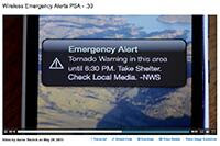 WEA Screen image of disaster text from the government displaying on a smart phone screen.