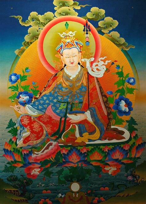 painting  padmasambhava guru rinpoche seated   moon