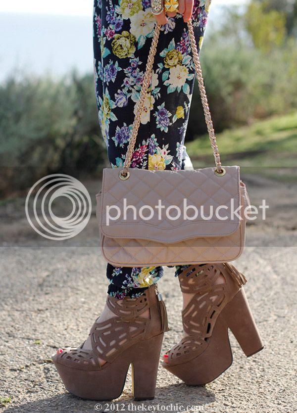Love Culture floral pants, Michael Antonio Gallista heels, Aldo quilted handbag, southern California fashion blog