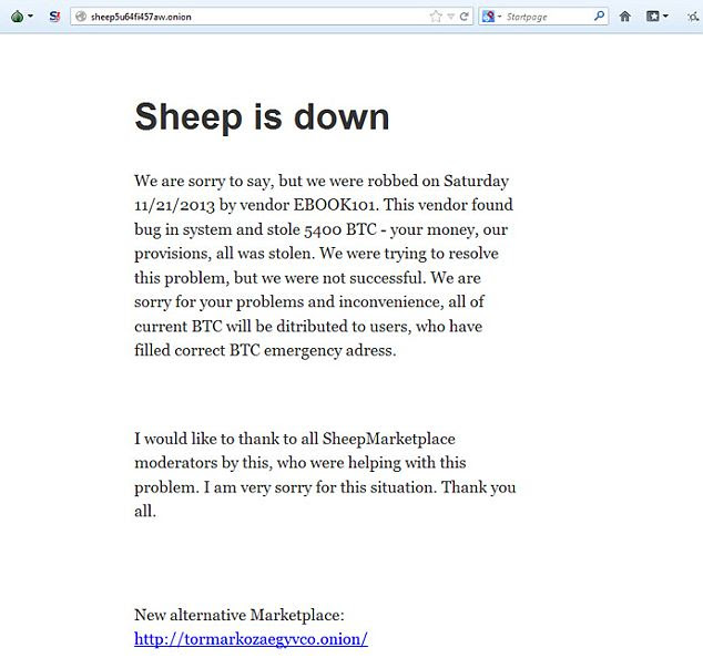 Down, but is it out? Sheep Marketplace posted a note claiming it was they who were the victims of a scam. But users have their doubts and fear no one will ever get refunds of their nearly untraceable, illicit money