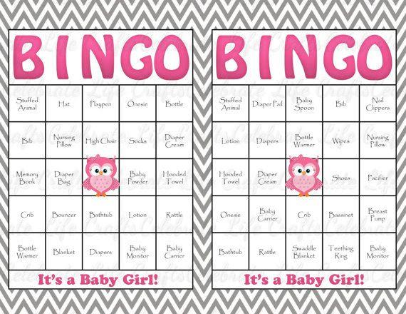 60 Owl Baby Shower Bingo Cards - 60 Prefilled Bingo Cards - Girl ...