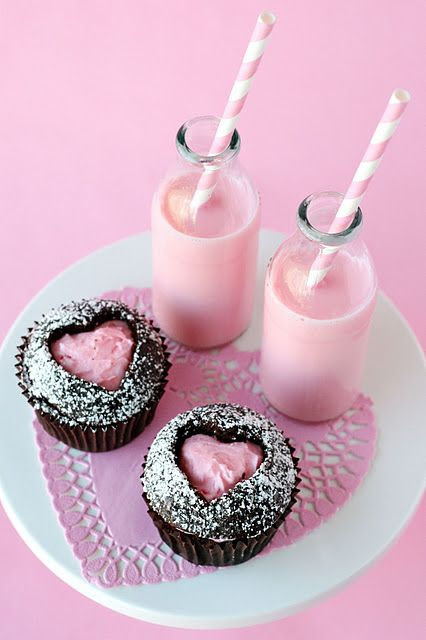 Love the Mini-Milk Bottles and the cut out heart cupcakes.