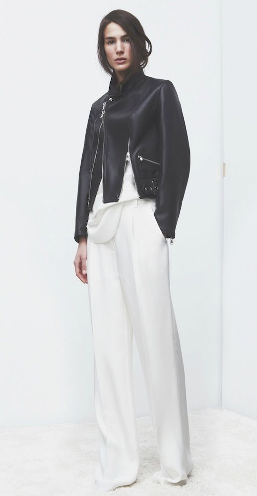 LE FASHION BLOG 3.1 PHILLIP LIM HOLIDAY 2013 LOOKBOOK BLACK LEATHER JACKET WITH FRONT SIDE ZIPS ZIPPERS WHITE TUCKED IN TOP WIDE LEG WHITE PANTS TROUSERS MINIMAL LOOK MINIMAL CLEAN  2 photo LEFASHIONBLOG31PHILLIPLIMHOLIDAY2013LOOKBOOKBLACKLEATHERJACKET2.jpg