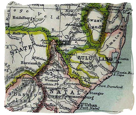 Enlargement of a section of a 1885 map of South Africa showing geographical details of Zululand and Natal