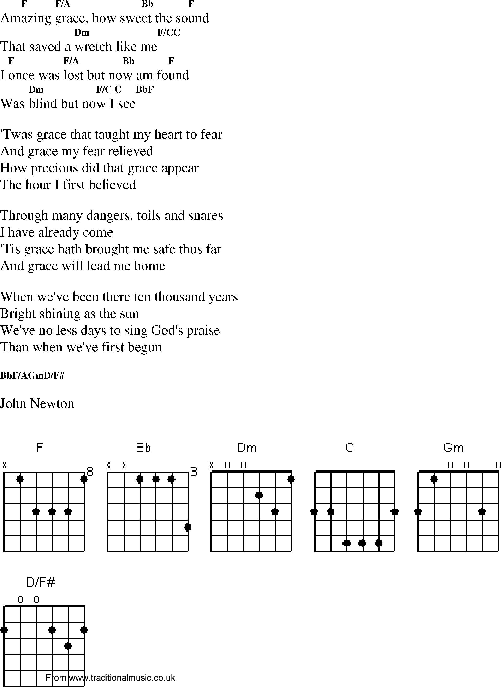 Amazing Grace Chords In G   Sheet and Chords Collection