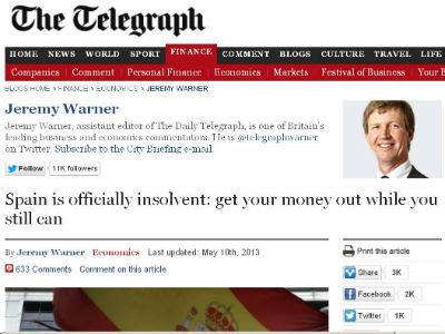 Imagen del artículo de 'The Telegraph' que critica la situación financiera de España.