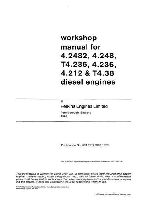 PERKINS 4.236 DIESEL ENGINE Service Repair Manual