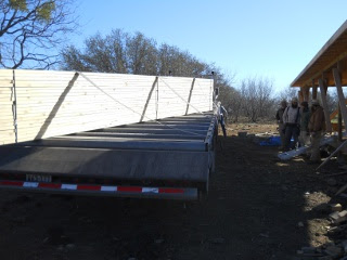 House Roof Trusses on Delivery Truck Next to the Brethren Crew