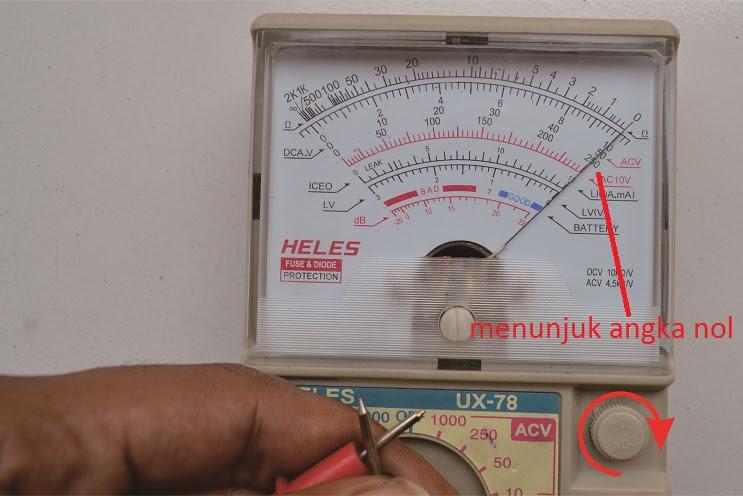 putar knop sampai menunjuk angka nol