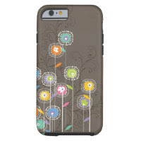 Colorful Abstract Retro Flowers Brown Background Tough iPhone 6 Case