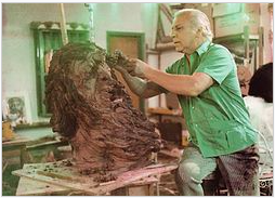 Nicky Imber at work in his studio in Safed. Photo courtesy of Wikipedia.