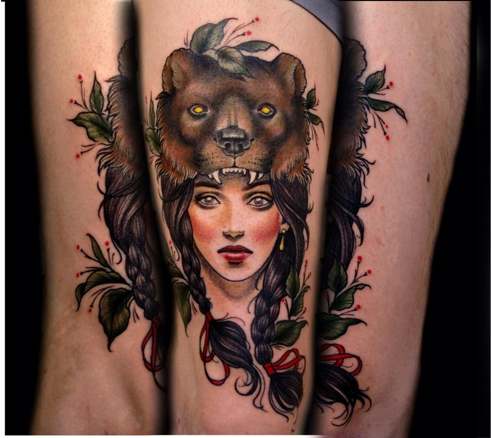 I Am In Love With My New Tattoo Beautiful Bearskin Girl By Samantha