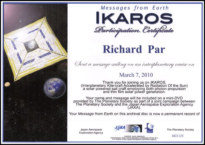 My participation certificate for the IKAROS mission.