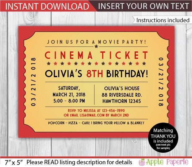 Movie ticket | Etsy