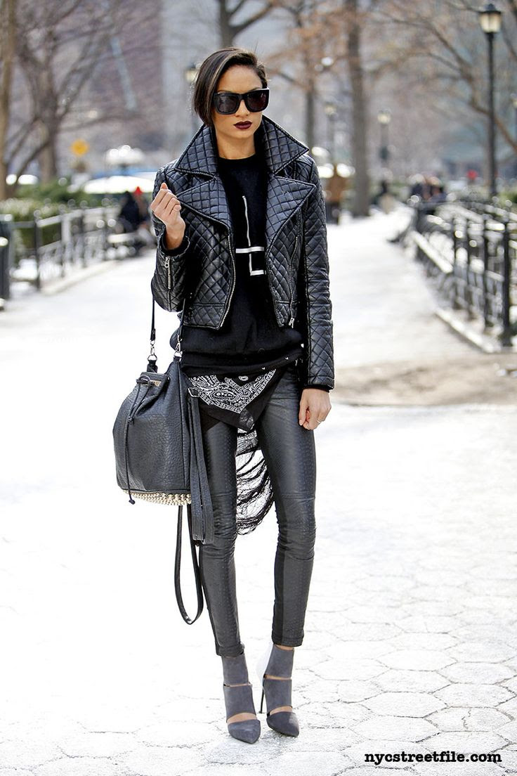 street style. leather. all black.