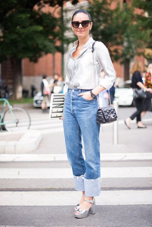 Le Fashion Blog Silver Button Down Bold Cuffed Jeans Silver Heeled Sandals Via Popsugar