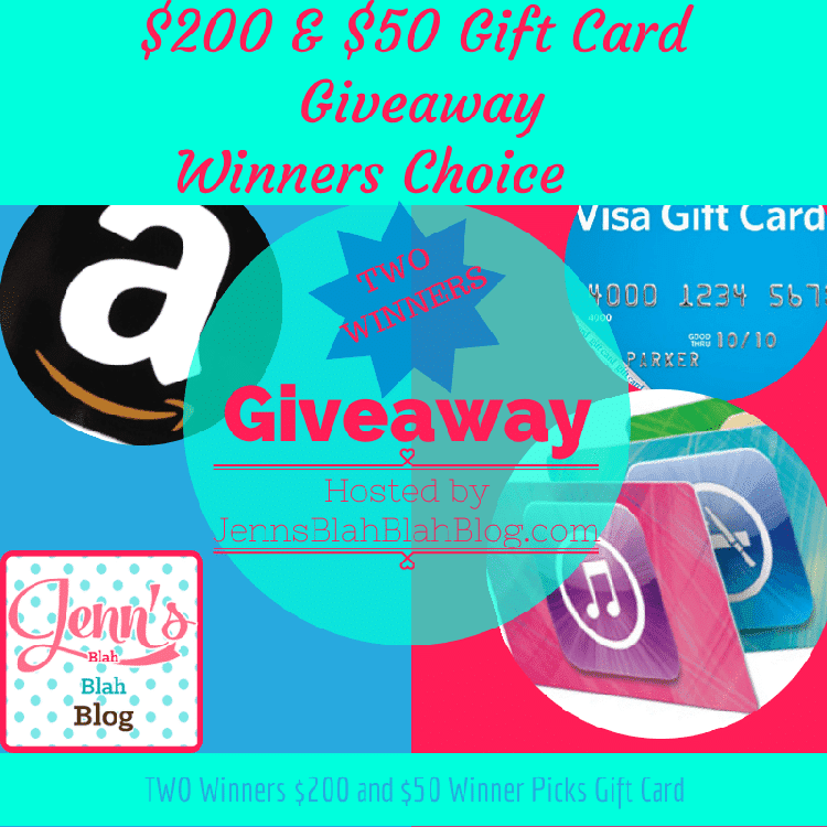 $250 Two Winners Gift Card Winners Choice Giveaway!