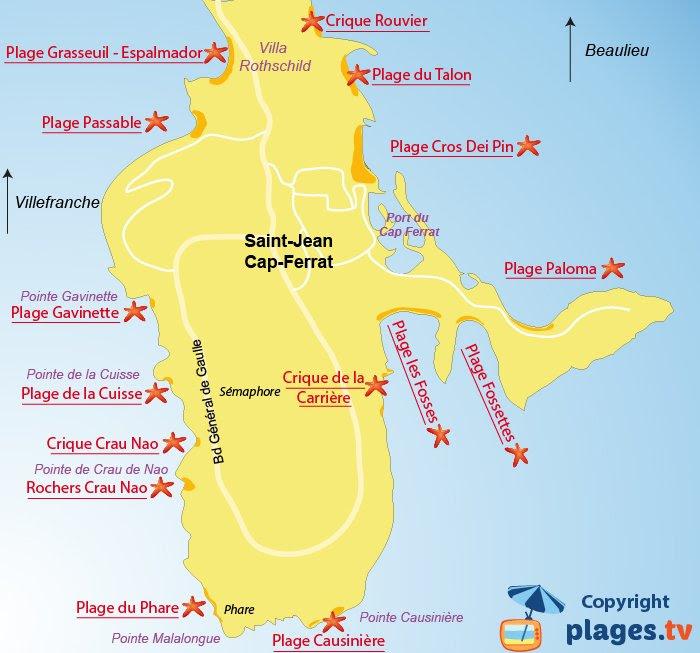 Carte des plages de Saint Jean Cap Ferrat