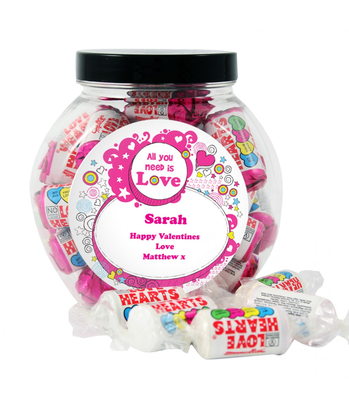 Love Heart Sweet Jar Just For Gifts