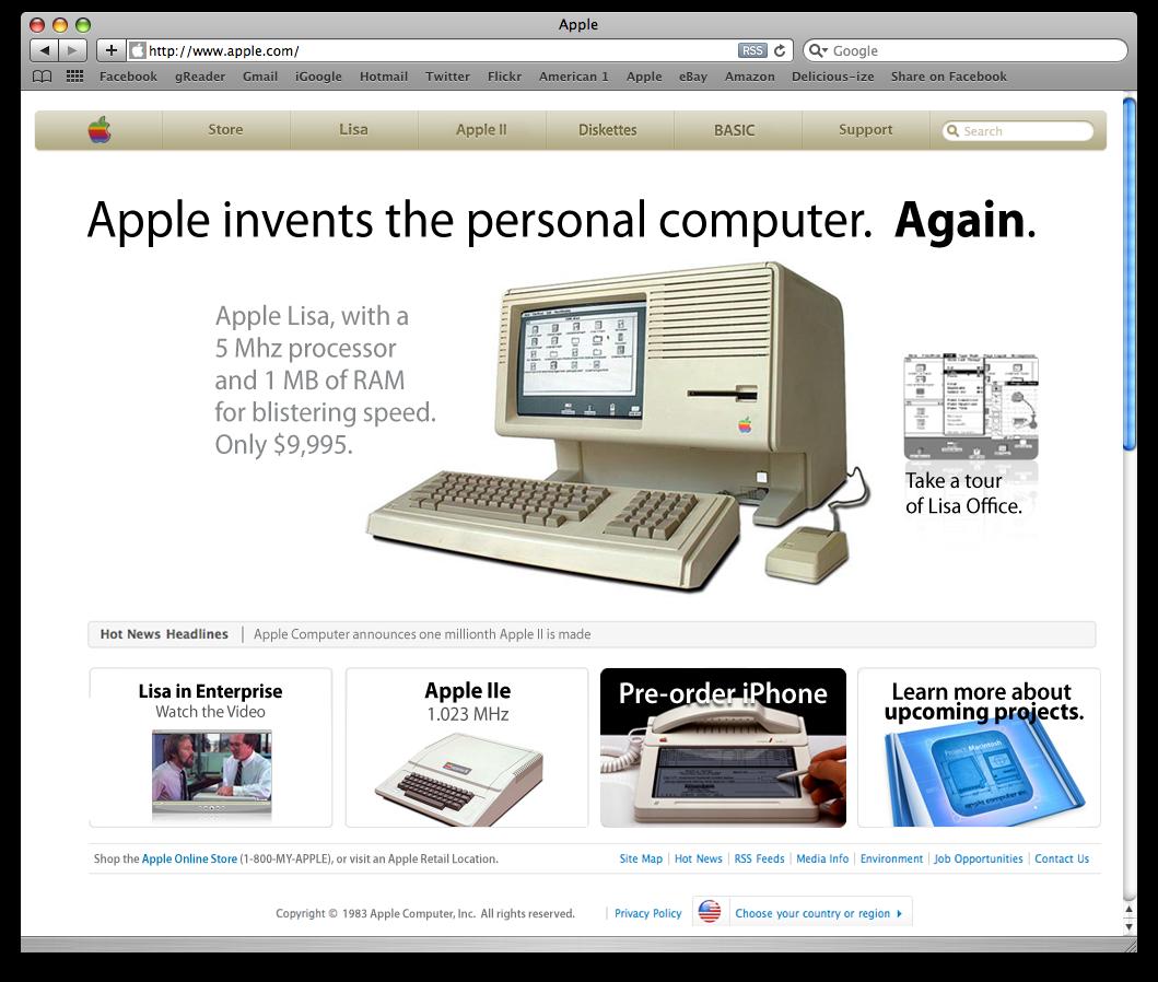 Supuesta Web de Apple en 1983