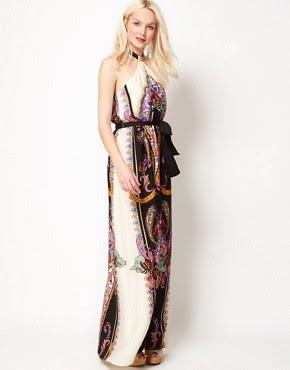 Image 1 ofMango Halter Maxi Dress with Scarf Print
