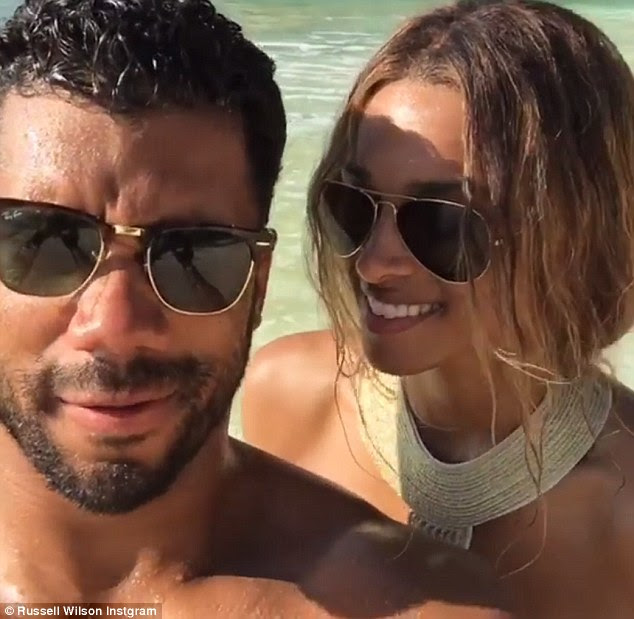 Giddy: The loving couple gushed about being engaged in a video both shared to Instagram, in which they joked about no longer calling each other boyfriend or girlfriend, with Russell noting: 'Fiancee sounds way better'