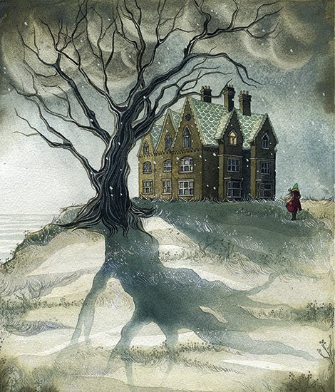 ghost stories house in snow illustration