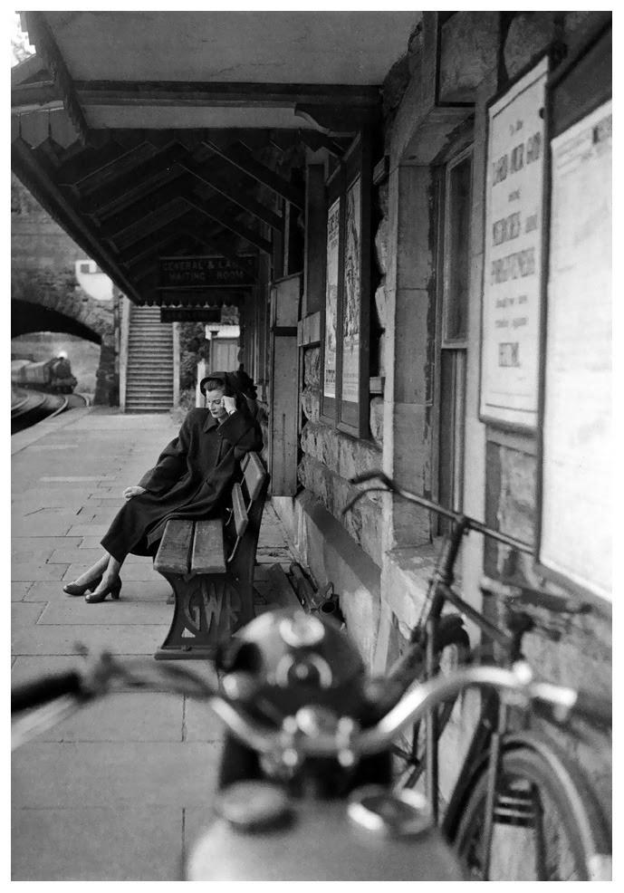 """Waitin' on a Train"". Wenda Parkinson. 1947. Photographer: Norman Parkinson"