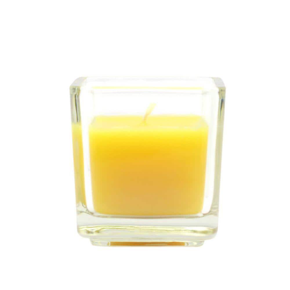 Zest Candle 2 in. Yellow Citronella Square Glass Votive ...