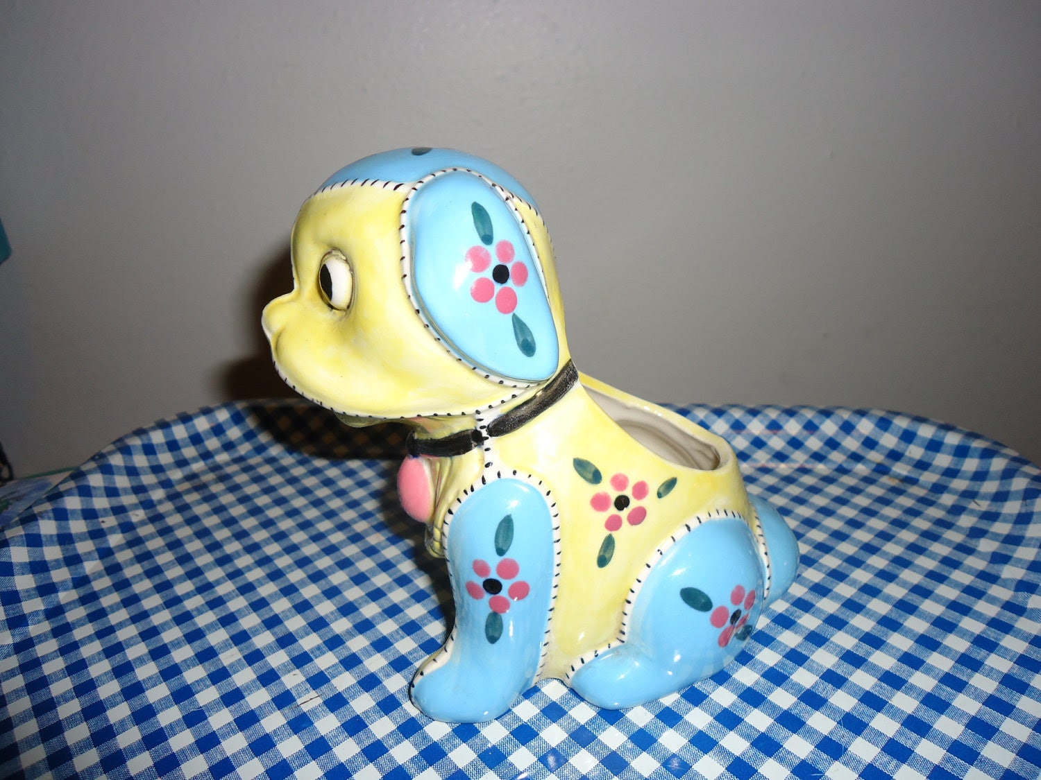 Vintage Ceramic Patchwork Dog Planter