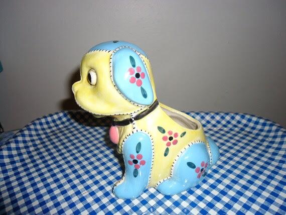 Vintage Ceramic Patchwork Dog Planter