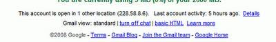Gmail账户的登录日志信息