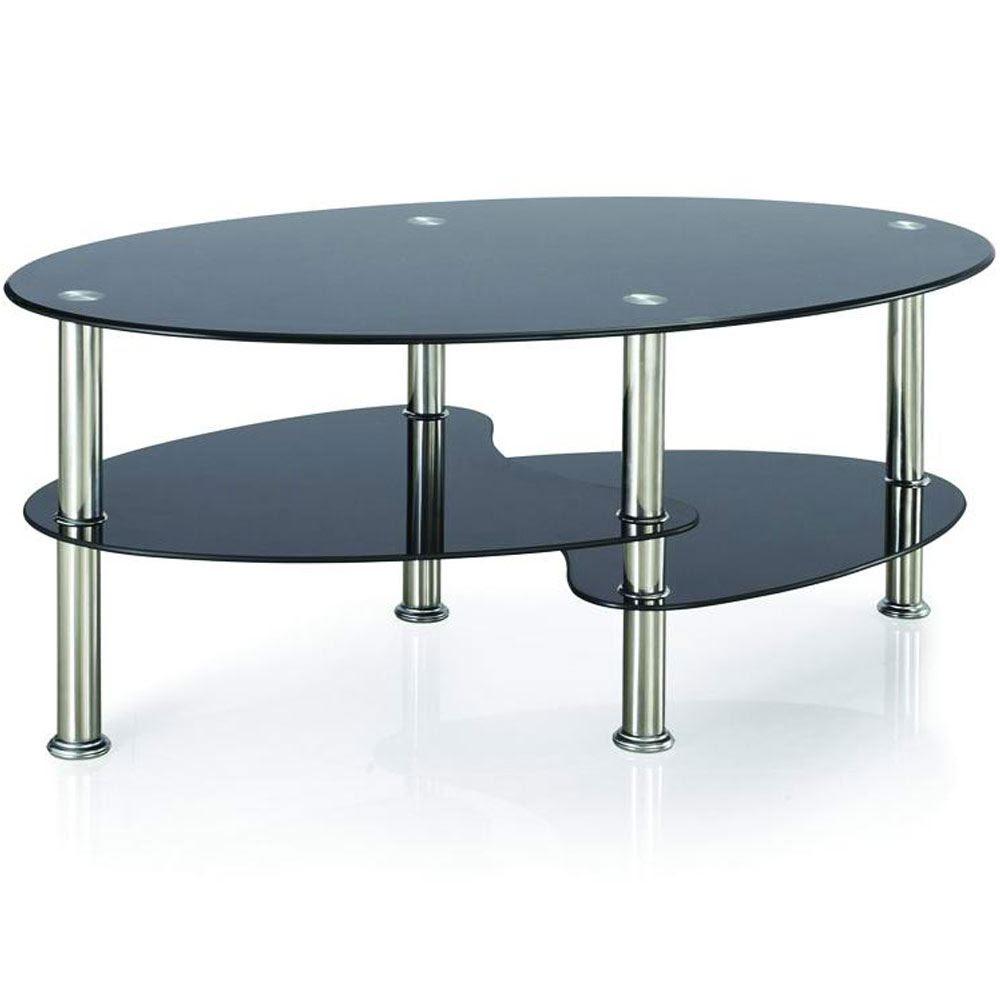 CARA COFFEE TABLE Black Glass Oval Top Living Room ...