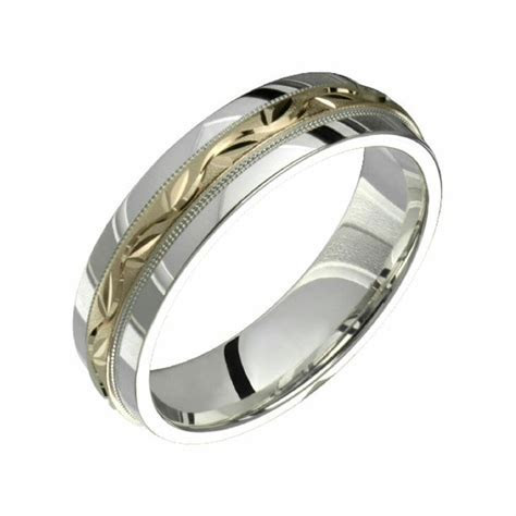 10k Yellow Gold W .925 Sterling Silver Wedding Band 6mm