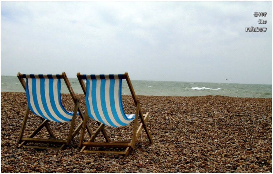 Sea side photograph, beach, landscape photograph, blue and brown, stony beach, beach chairs, 12x8, Giclee print- titled: Brighton - OverTheRainbowPrints