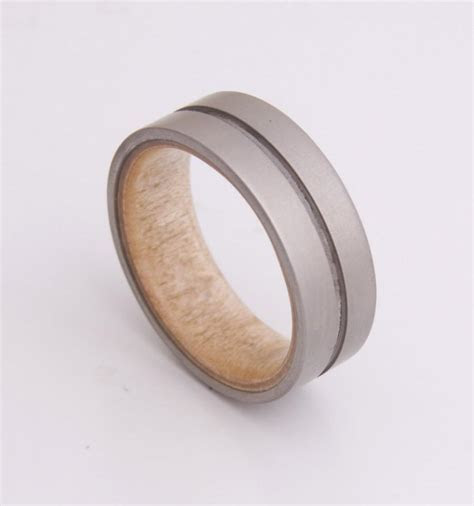 Titanium And Maple Birdeye // Mens Wood Rings //wood