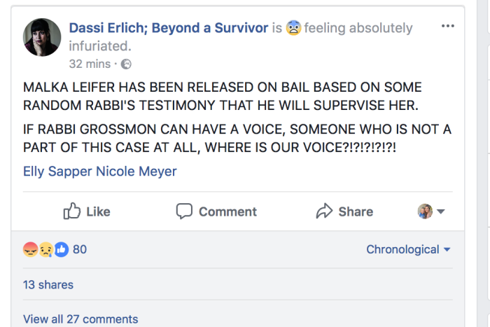 Dassi Erlich posts an angry facebook status tagging two other victims.
