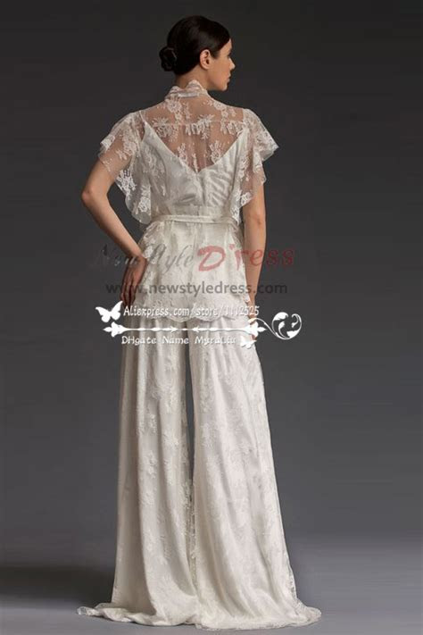 Elegant lace wedding pants dresses Floor Length Spring wps