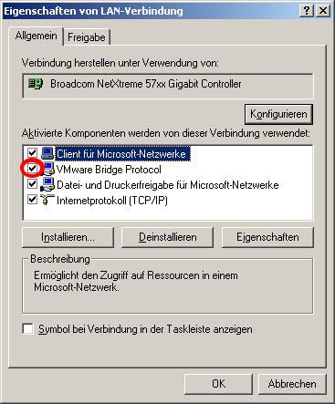 VMware Bridge Protocol is enabled