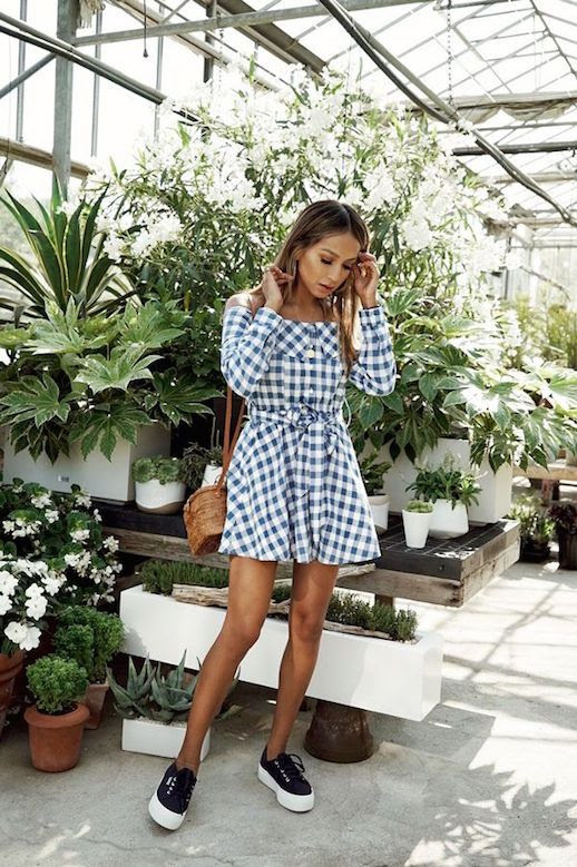 Le Fashion Blog Gingham Wrap Dress Straw Crossbody Bag Platform Sneakers Via @sincerelyjules