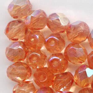 27001713 Firepolish - 6 mm Faceted Round - Dark Orange AB (25)