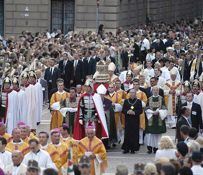 Catholic procession through the streets of Budapest