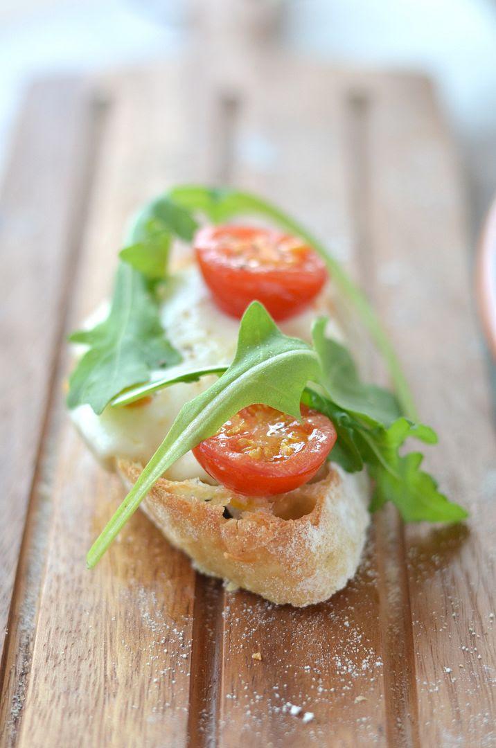 Home Baked Ciabatta topped with Mozzarella, Tomato & Rocket
