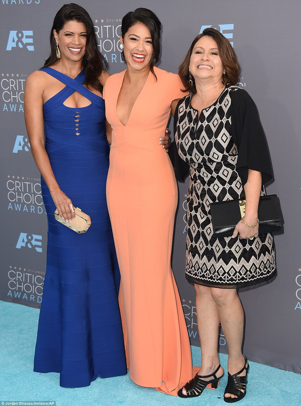 Her two families: The Jane The Virgin star was joined by her on-screen mother Andrea Navedo (L), and real mother Magali Rodriguez
