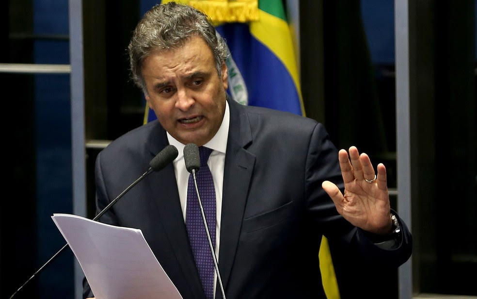 O senador Aécio Neves, em discurso em abril no Senado (Foto: Wilson Dias/Agência Brasil)