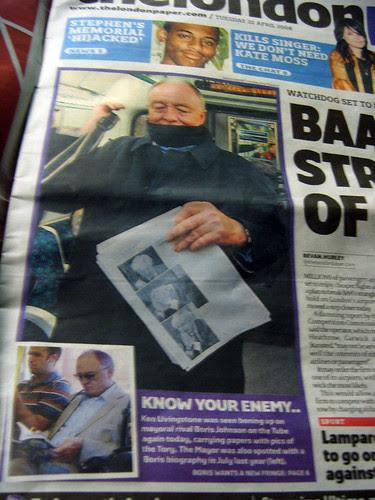 Ken on front page Londonpaper