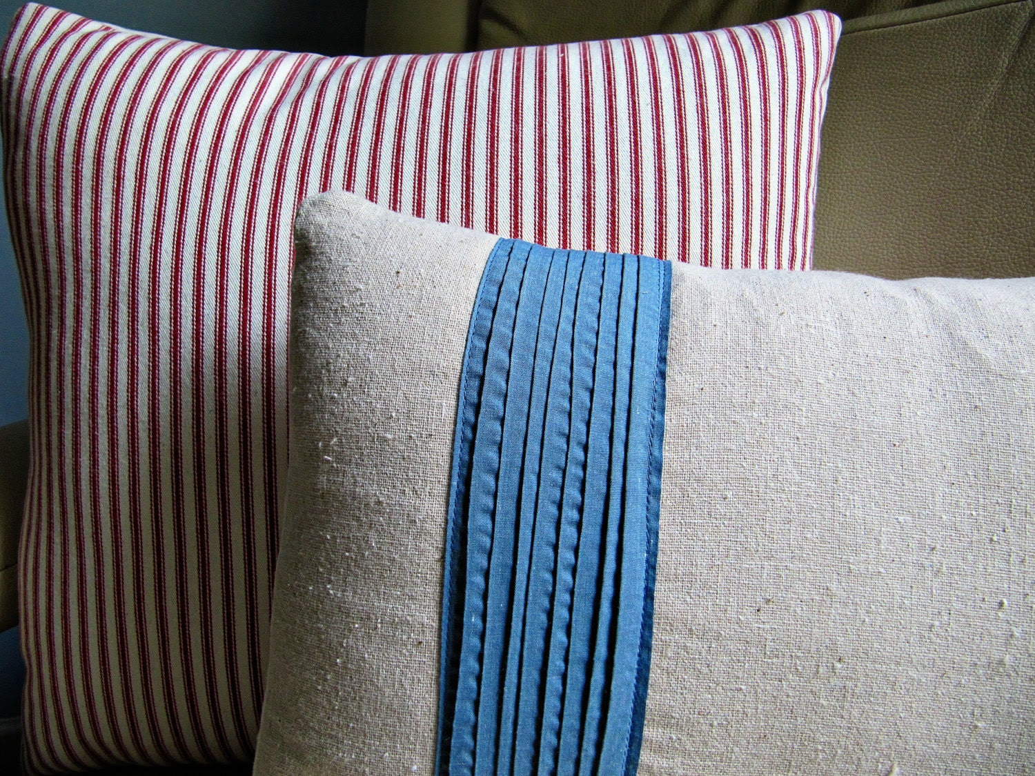 "Red Ticking Stripe Pillow Cover - Natural Muslin Cotton - 16"" x 16"""