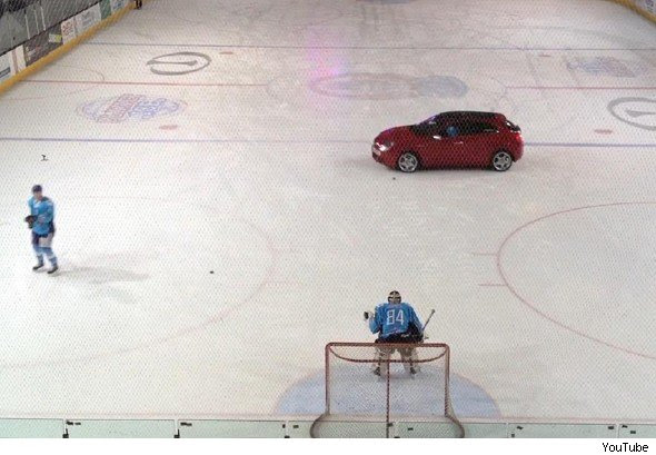Image result for ice hockey with cars