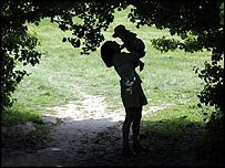 A woman and child in a wood