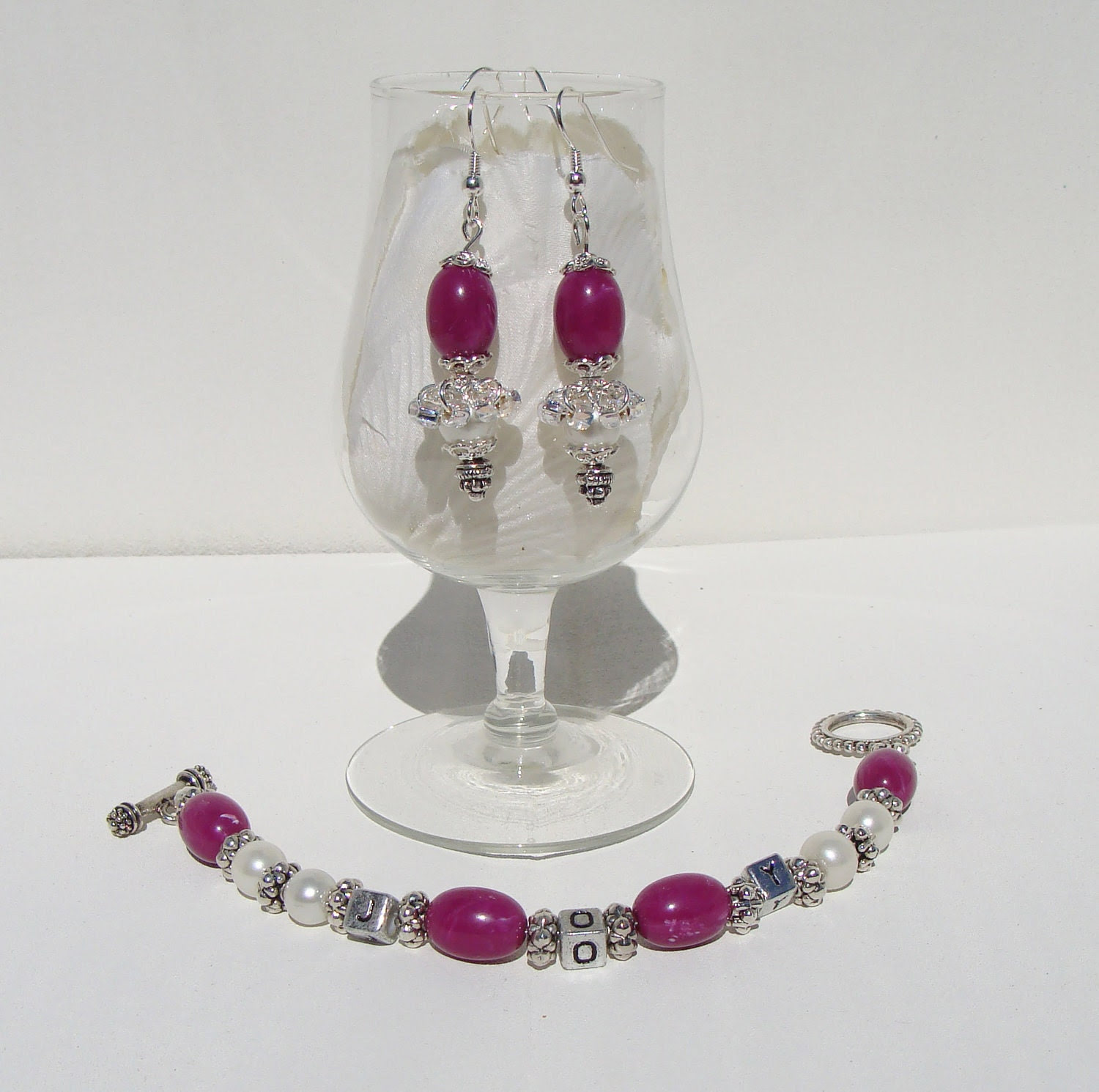 Fushia and Pearl Earrings with a Silver Sparkle